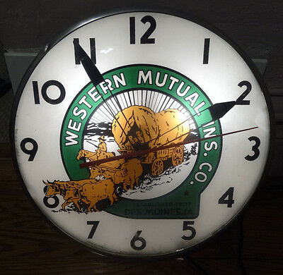 Vintage Western Mutual Insurance Company Lighted Clock, Office Des Moines, IA