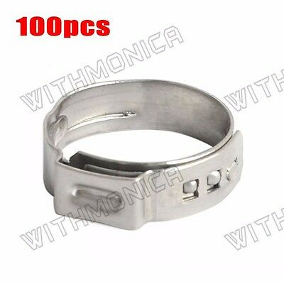 "100pcs 5/8"" PEX 304 Stainless Steel Clamp Cinch Ring Crimp Pinch Fitting New"