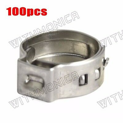 "100x 3/8"" PEX 304 Stainless Steel Clamp Cinch Ring Crimp Pinch Fitting"