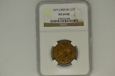 Great Britain: 1877 Half Penny- NGC MS-64 RB.  Lovely.