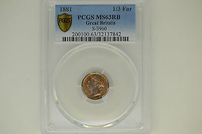 Great Britain: 1881 1/3 Farthing- PCGS MS-63 RB.  Gorgeous!
