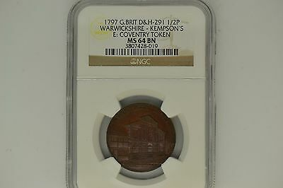 Great Britain: 1797 D&H-291 Half Penny- NGC MS-64 BN.  Warwickshire-Kempson's.