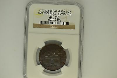 Great Britain: 1797 D&H-293A Half Penny- NGC MS-64 BN.  Warwickshire-Kempson's.