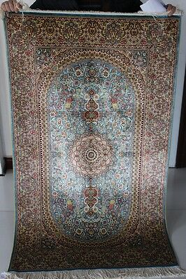 3' X 5' traditional hand knotted  persian silk carpet excellent area rugs