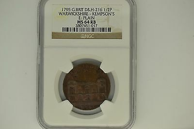 Great Britain: 1795 D&H-216 Half Penny- NGC MS-64 RB.  Warwickshire-Kempson's.