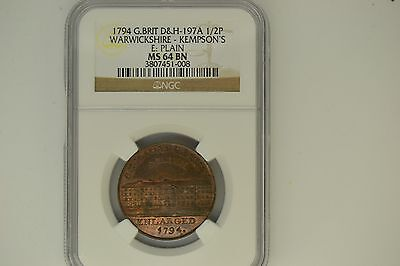 Great Britain: 1794 D&H-197A Half Penny- NGC MS-64 BN.  Warwickshire-Kempson's.