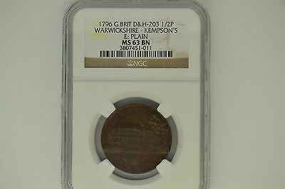 Great Britain: 1796 D&H-203 Half Penny- NGC MS-63 BN.  Warwickshire-Kempson's.