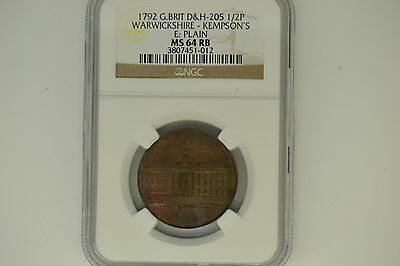 Great Britain: 1792 D&H-205 Half Penny- NGC MS-64 RB.  Warwickshire-Kempson's.