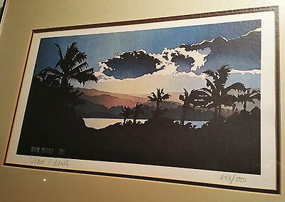 1979 BYRON BIRDSALL vtg hawaiian print alaska pacific islands hula tiki surf art