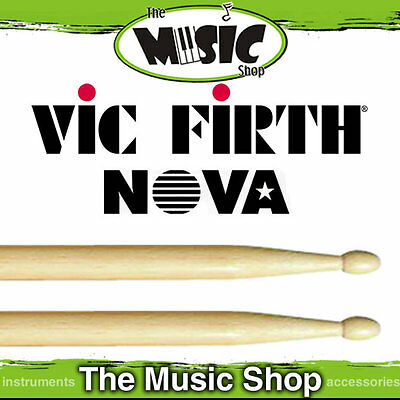 3 Pairs of Vic Firth Nova 5A Drumsticks with Wood Tip - Natural Drum Sticks