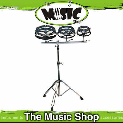 "Powerbeat Tunable Roto Tom Set  6"", 8"" & 10"" with Heavy Duty Stand New Roto Toms"