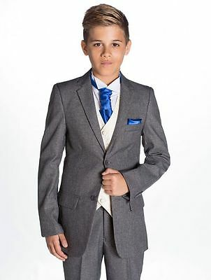 Grey Boys Kids Page Wedding Tuxedos 3 Pieces Agers Toddlers Prom Suit