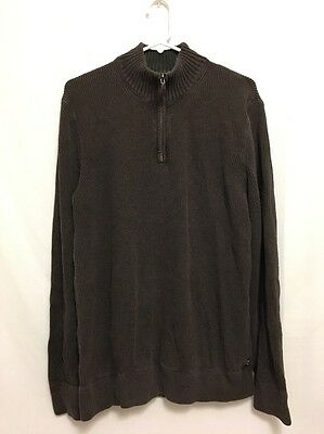 Eddie Bauer Jacket Men's TL Size Tall Large Brown 1/2 Zip-Up Pullover Cotton