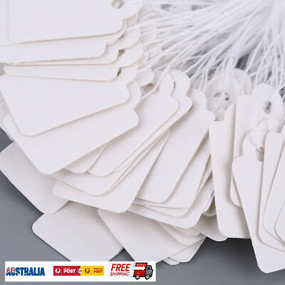Rectangular Blank White 925 Silver Price Tag 100 Pc With String Jewelry Label HF