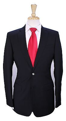 NWT New * BURBERRY * London $1375 Solid Black 2-Btn Slim Fit ITALY Wool Suit 36R