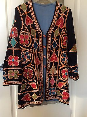Vintage Ethnic~ Embroidered  Velvet Coat From Northern India