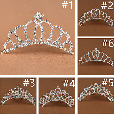 Rhinestone flower girl's Princess crown Wedding Hair comb Barrette Bridal Tiara