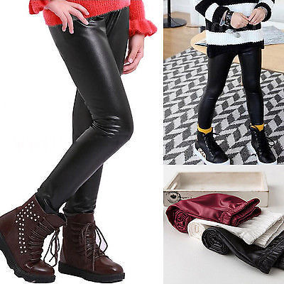 US Stock Baby Kids Girls Leather Skinny Pants Girls Leggings Trousers Clothes