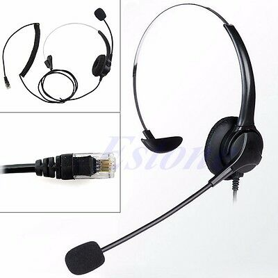 4-Pin RJ11 Monaural Corded Operator Call Center Telephone Headphone Headset BK