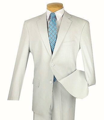 Men's Light Gray Linen 2 Button Classic Fit Suit NEW Tropical Suit