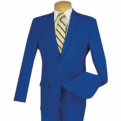 Men's Royal Blue 2 Button Slim Fit Polyester Suit NEW
