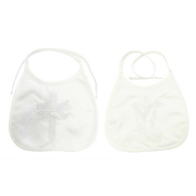 New Baby Infant Christening Baptism Cute Bib 100% Cotton - With Dove and Cross