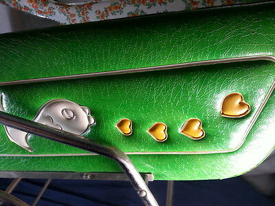 Vintage Pram Stroller Carriage Baby Buggy - Funky Green 60's Fishy Hearts Flower