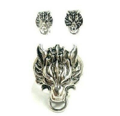 FF7 FINAL FANTASY VII cloud cloudy Wolf motif ring earrings ADVENT CHILDREN New