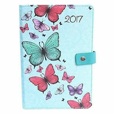 A5 Day a Page Monthly Indexed Fabric Organiser Diary Butterfly Design Blue