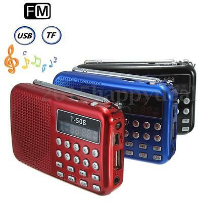 T508 Pocket Portable LED Stereo FM Radio Speaker USB TF Card MP3 Flashlight