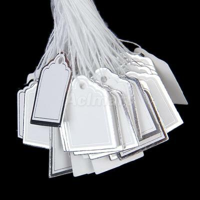 500pcs String Price Tags Jewelry Watch Clothing Display Label White Silver