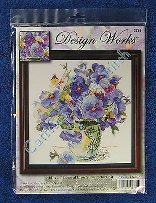 "Cross Stitch Kit Pansy Floral Bright Purple Pansies in Vase 14"" x 14"""