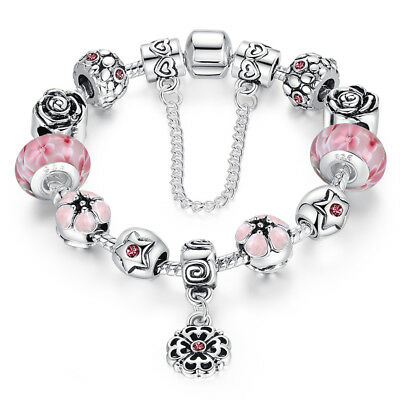 Wostu Retro European 925 silver Charms Bracelet With Pink Flower Beads For Women