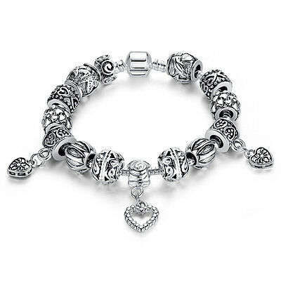 Wostu European 925 silver Hearts Charms Bracelet With retro Beads For Women Gift