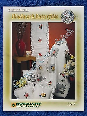 Cross Stitch Pattern Blackwork Butterflies & Flowers for Afghan Pillows Zweigart