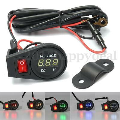 12-24V Car Motorcycle LED Digital Display Voltmeter Voltage Gauge On Off Switch