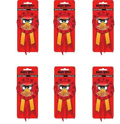 Pack of 6 Angry Birds Confetti Award Ribbon - Rosettes - Party Accessories