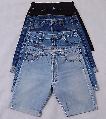 Mens Levis Shorts Denim Cut Offs In Light Mid Dark Blue & Black Range of Sizes