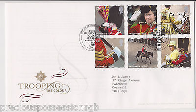Gb Royal Mail Fdc First Day Cover 2005 Trooping The Colour Stamp Set London Pmk