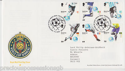 Tallents Pmk Gb Royal Mail Fdc First Day Cover 2006 World Cup Winners Stamp Set