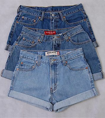 Womens Levis High Waisted Denim Shorts Light Mid Dark Blue Black Range of Sizes