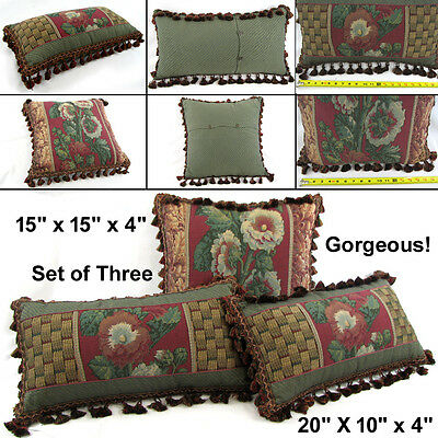 Antique Vintage Gorgeous Upholstered Sofa Pillows Cushions - Fabulous Condition!