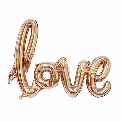 "2x 40"" LOVE Script Helium Foil Balloon Wedding Birthday Party Decor Rose Gold"