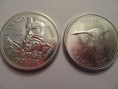 TWO Canadian Silver Dollar, 80% silver, great details, 1 ea 1958 & 1967