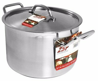 ZSP Heavy Duty Stainless Steel Pan Professional Large Saucepan & Lid 24cm 8.1L