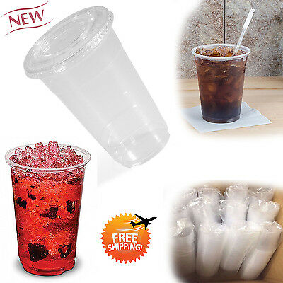 50 Sets PET Plastic CLEAR Cups with Flat Lids Coffee Bubble Boba Tea 16 OZ