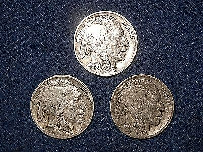 Mixed Lot 5C Buffalo Nickels 1918 P D & S