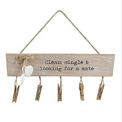 "Vintage Rustic Farmhouse Style Wooden ""lost Socks"" Laundry Room Plaque Peg Rack"