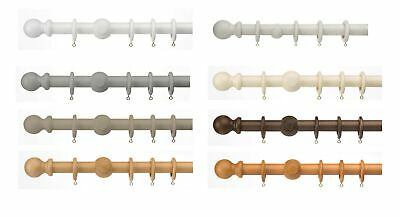 Universal 35mm  wooden curtain pole, wood pole sets with rings and fixings