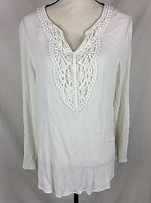Liz Lange Maternity Blouse Size Large Ivory Crinkle Top Lace Vneck Long Sleeve